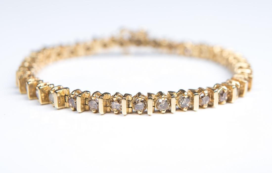 14KT YG COGNAE DIAMOND TENNIS BRACELET