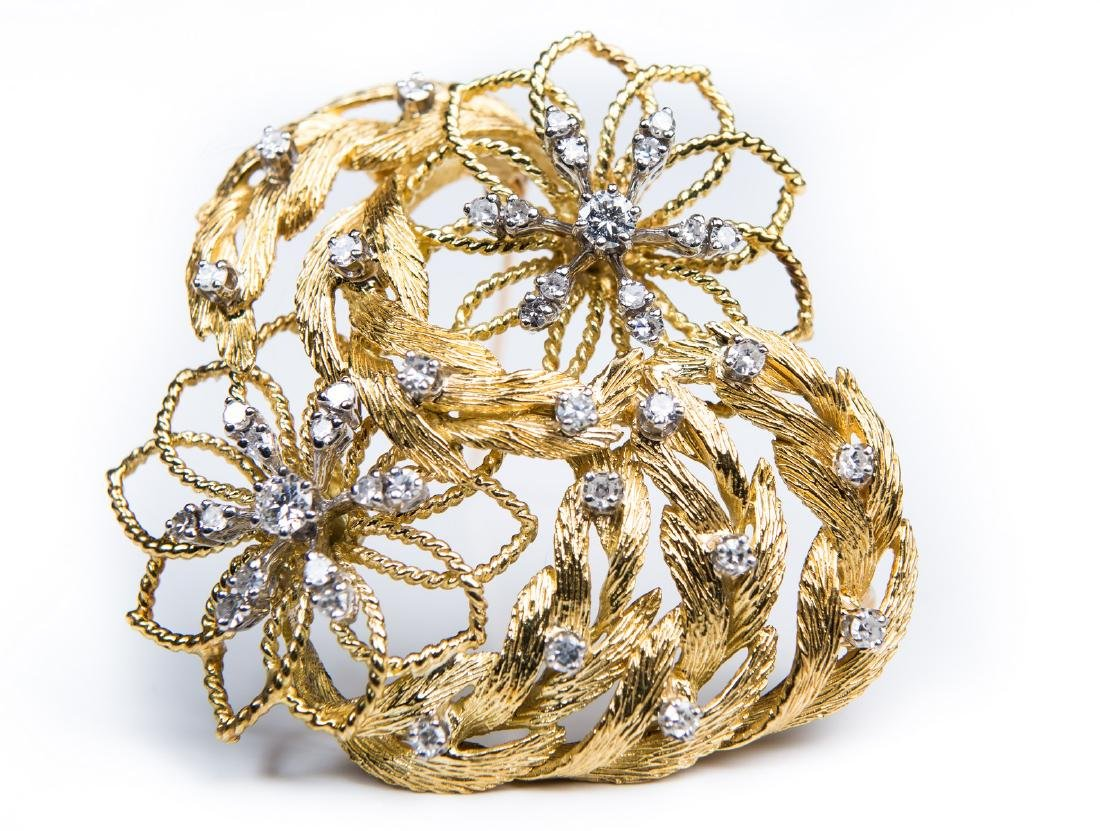 18 KT FLORAL & DIAMOND BROOCH