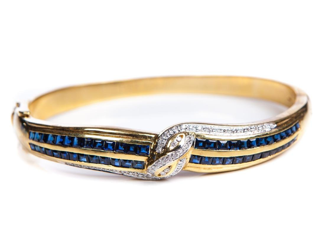 18 KT YG BANGLE WITH SAPPHIRES AND DIAMONDS