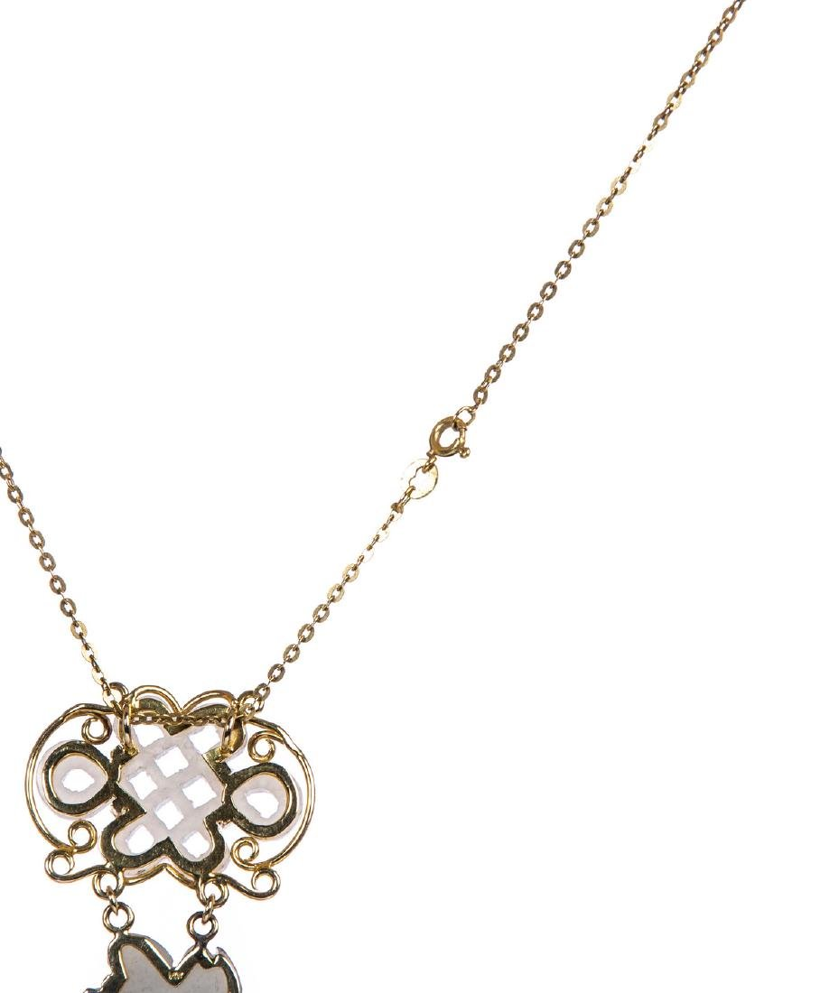 JADE AND 14 KT YELLOW GOLD PENDANT CHAIN - 4