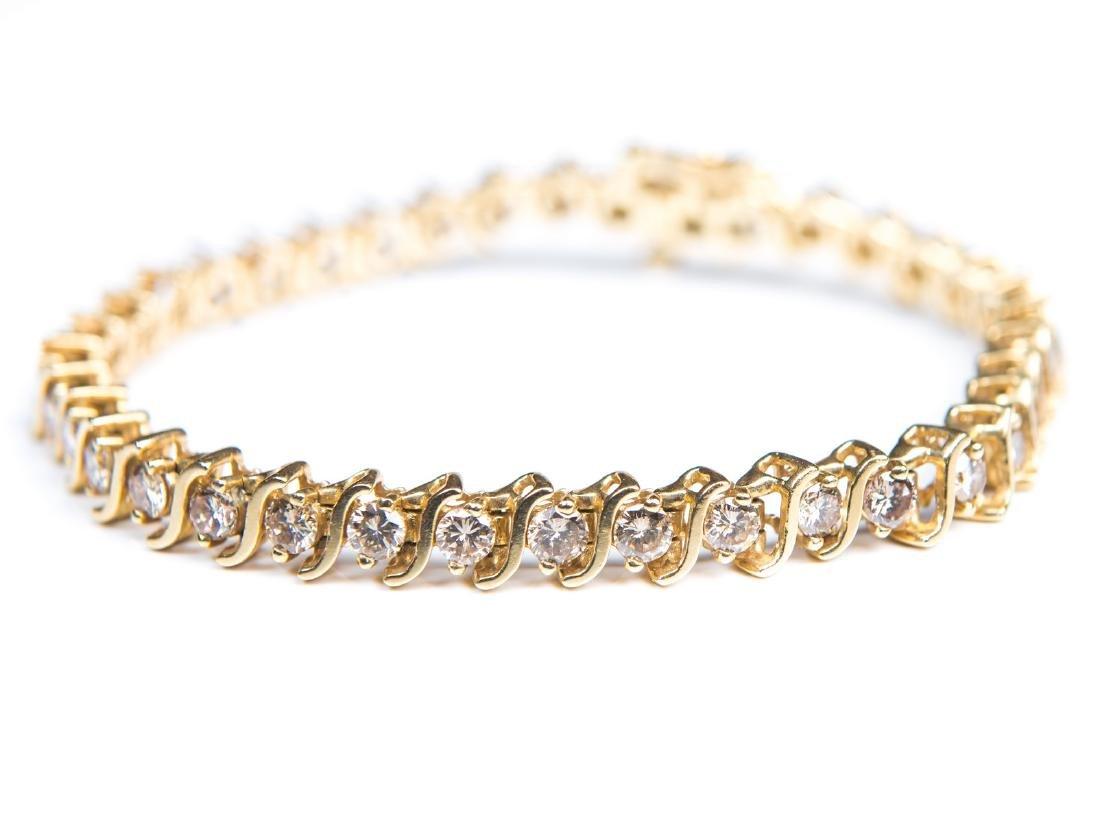 14KT YG & CHAMPAGNE DIAMOND TENNIS BRACELET