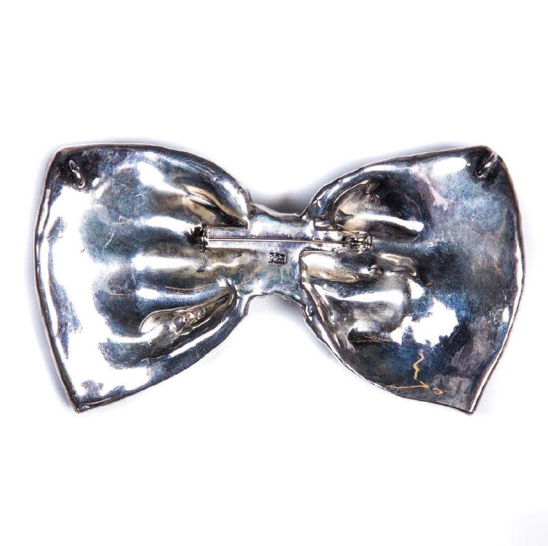 STERLING BOW BROOCH PENDANT - 2