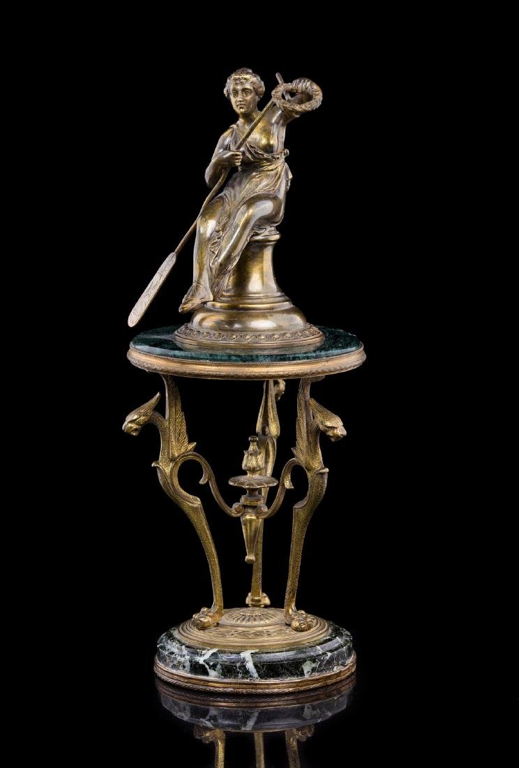 FRENCH LIBERTY BRONZE AND MARBLE STATUE