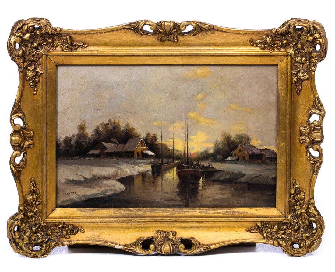19TH C. T SEAMAN OIL PAINTING ON CANVAS
