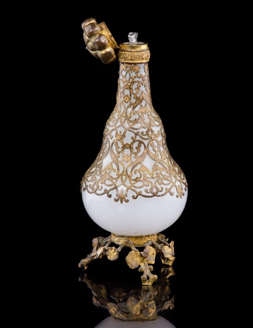 ANTIQUE MILK GLASS AND BRASS COLOGNE BOTTLE - 3
