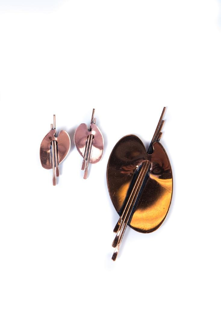 COPPER MID CENTURY BROOCH AND EAR CLIPS