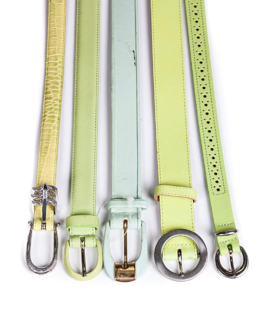 LADIES LEATHER PASTEL GREENS AND BLUE BELTS (6)