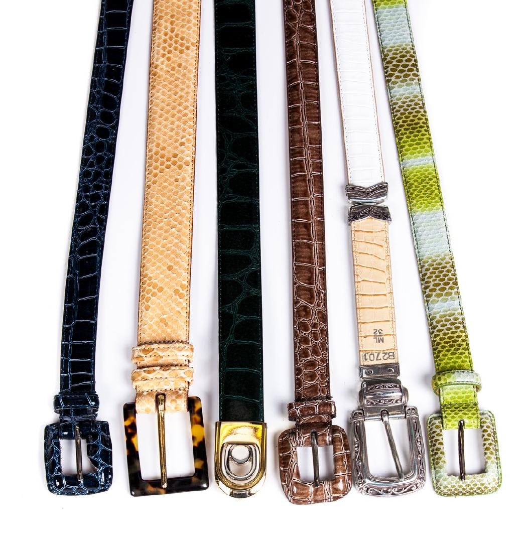 LADIES SNAKE AND TEXTURED LEATHER BELTS