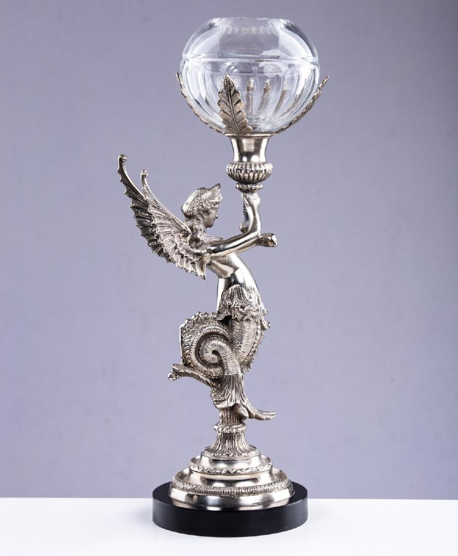 SP & GLASS FIGURAL ANGEL CANDLESTICK - 4