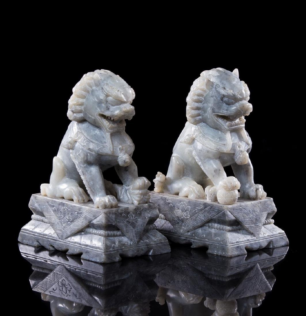 PAIR OF CHINESE SCULPTURE FOO DOGS