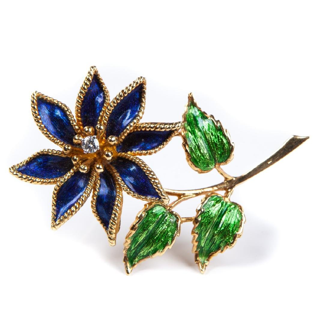 TIFFANY & CO 18 KT ENAMEL BROOCH
