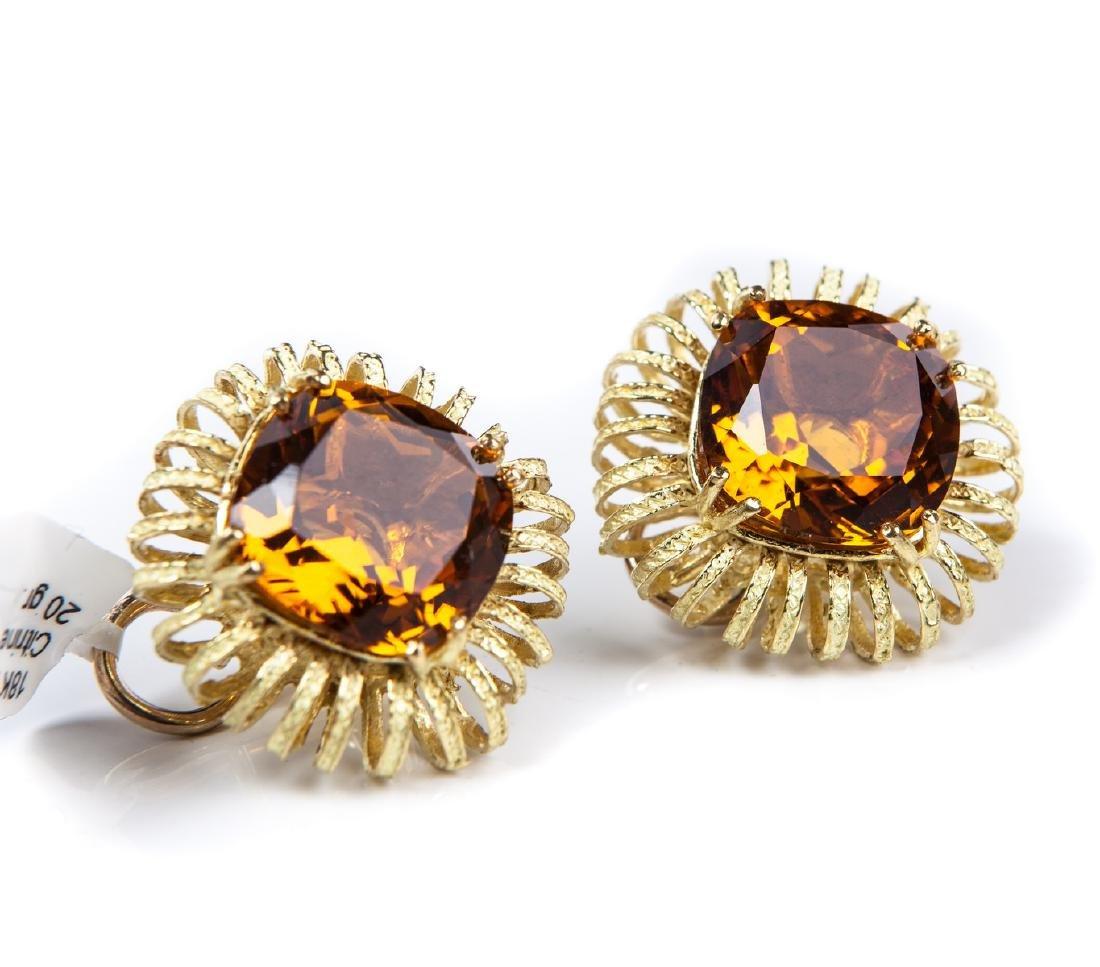 CITRINE & 18 KT YELLOW GOLD EARRINGS