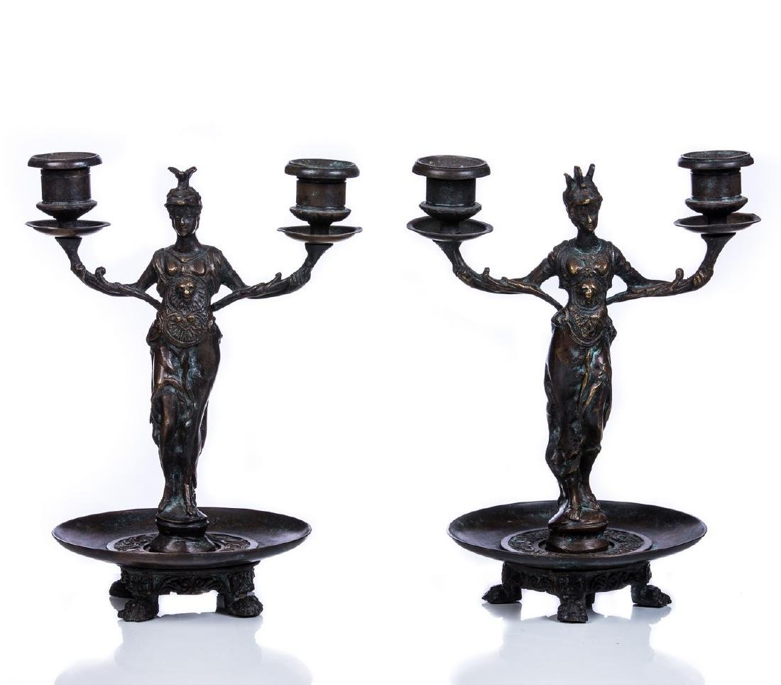 PR 2 LIGHT BRONZE FIGURAL CANDELABRA