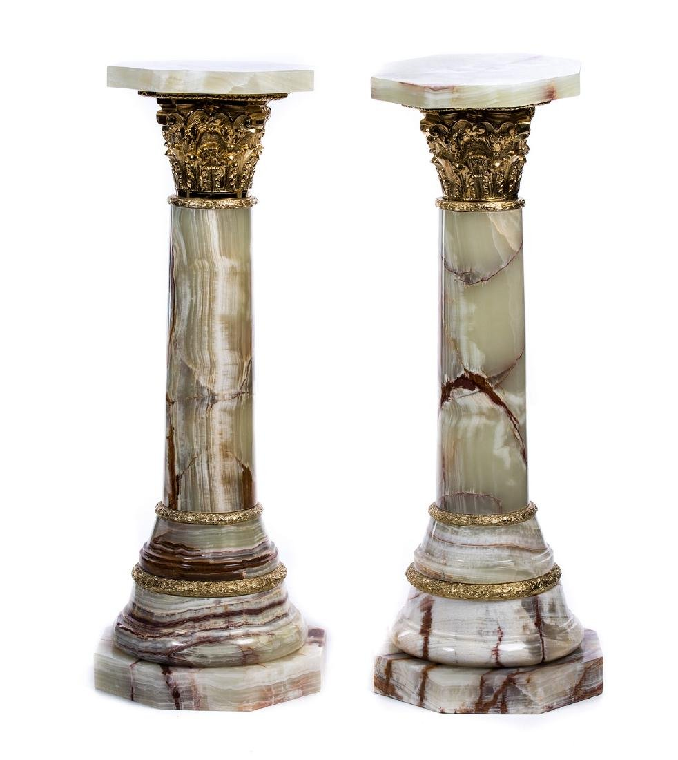 PAIR OF BRONZE AND MARBLE COLUMN PEDESTALS
