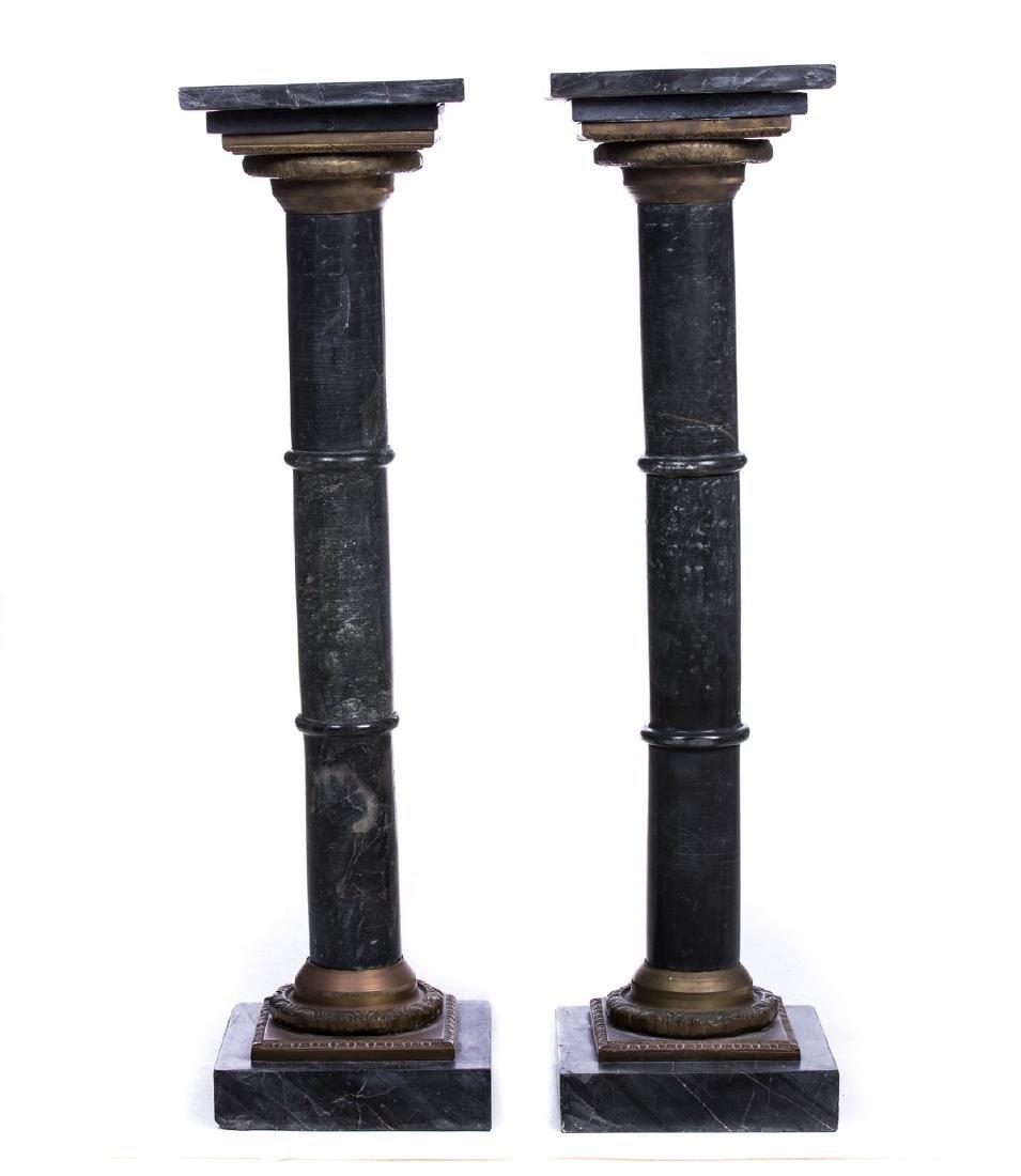 PARI OF MARBLE TOP AND BRONZE COLUMN PEDESTALS