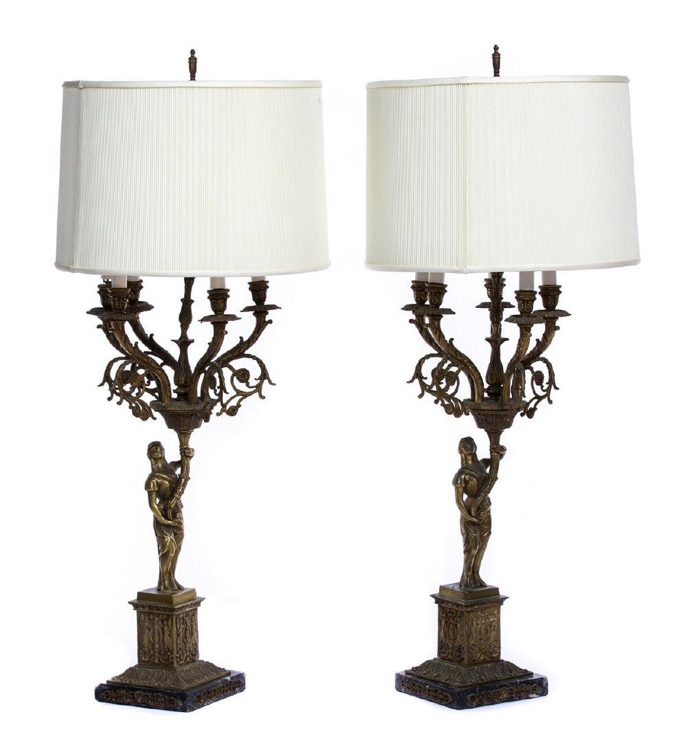 PAIR OF BRONZE AND MARBLE FIGURAL 5 LIGHT LAMPS