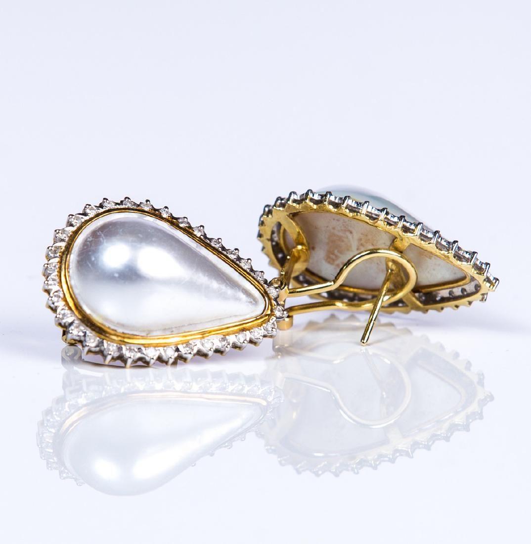 YG 14 KT PEAR SHAPED MABE PEARL DIAMOND EARRINGS