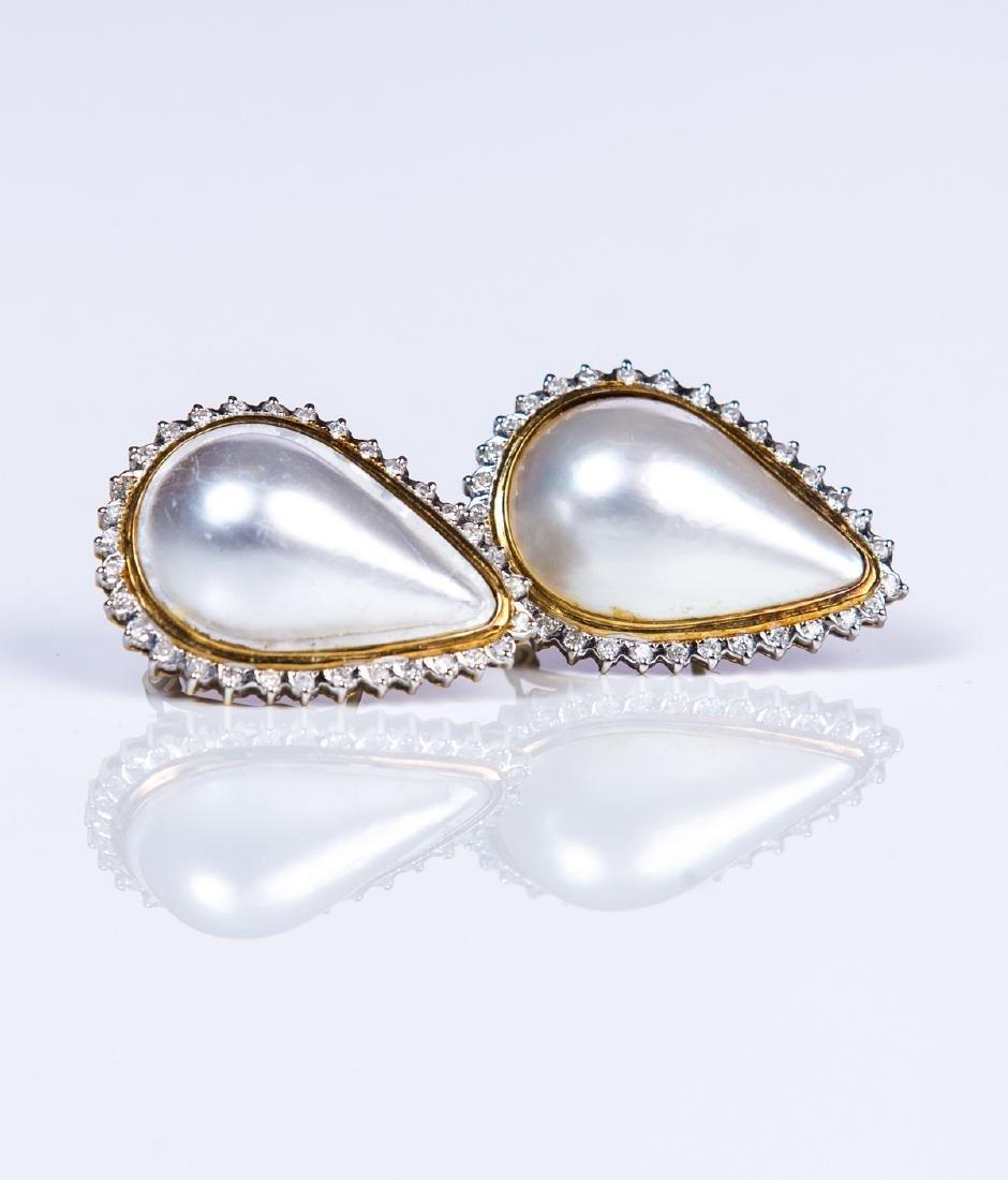 YG 14 KT PEAR SHAPED MABE PEARL DIAMOND EARRINGS - 2