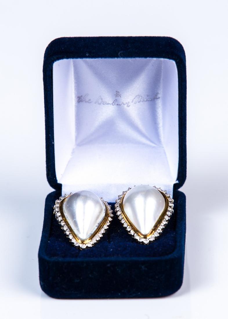 YG 14 KT PEAR SHAPED MABE PEARL DIAMOND EARRINGS - 3