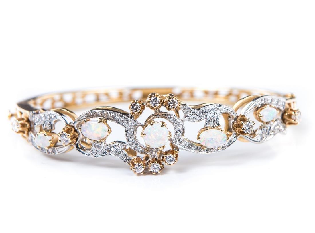 OPAL & DIAMOND BANGLE BRACELET