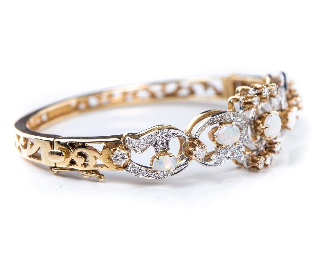 OPAL & DIAMOND BANGLE BRACELET - 4