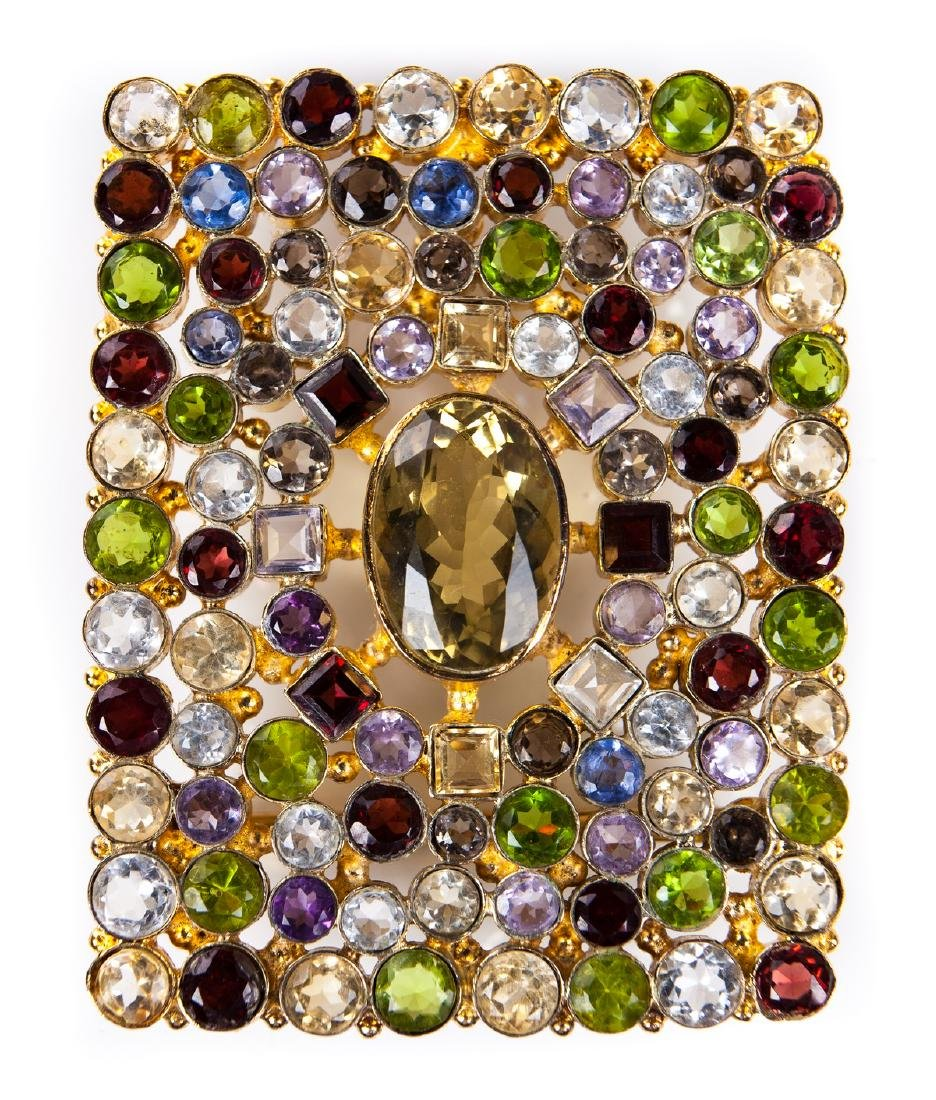GEM STONE BUCKLE IN GOLD PLATED METAL