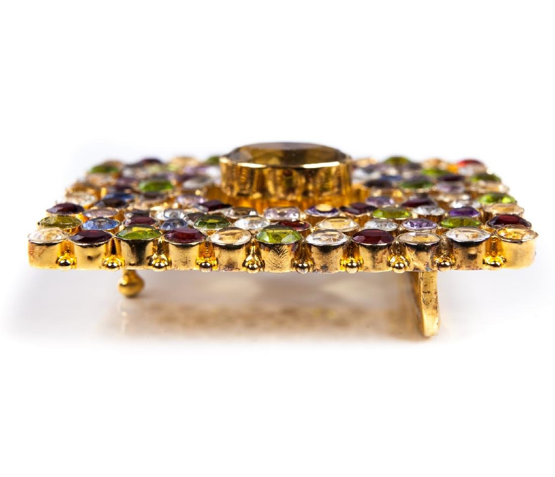 GEM STONE BUCKLE IN GOLD PLATED METAL - 3