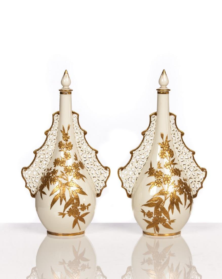 PAIR OF ROYAL WORCESTER COVERED PERFUMES BOTTLES