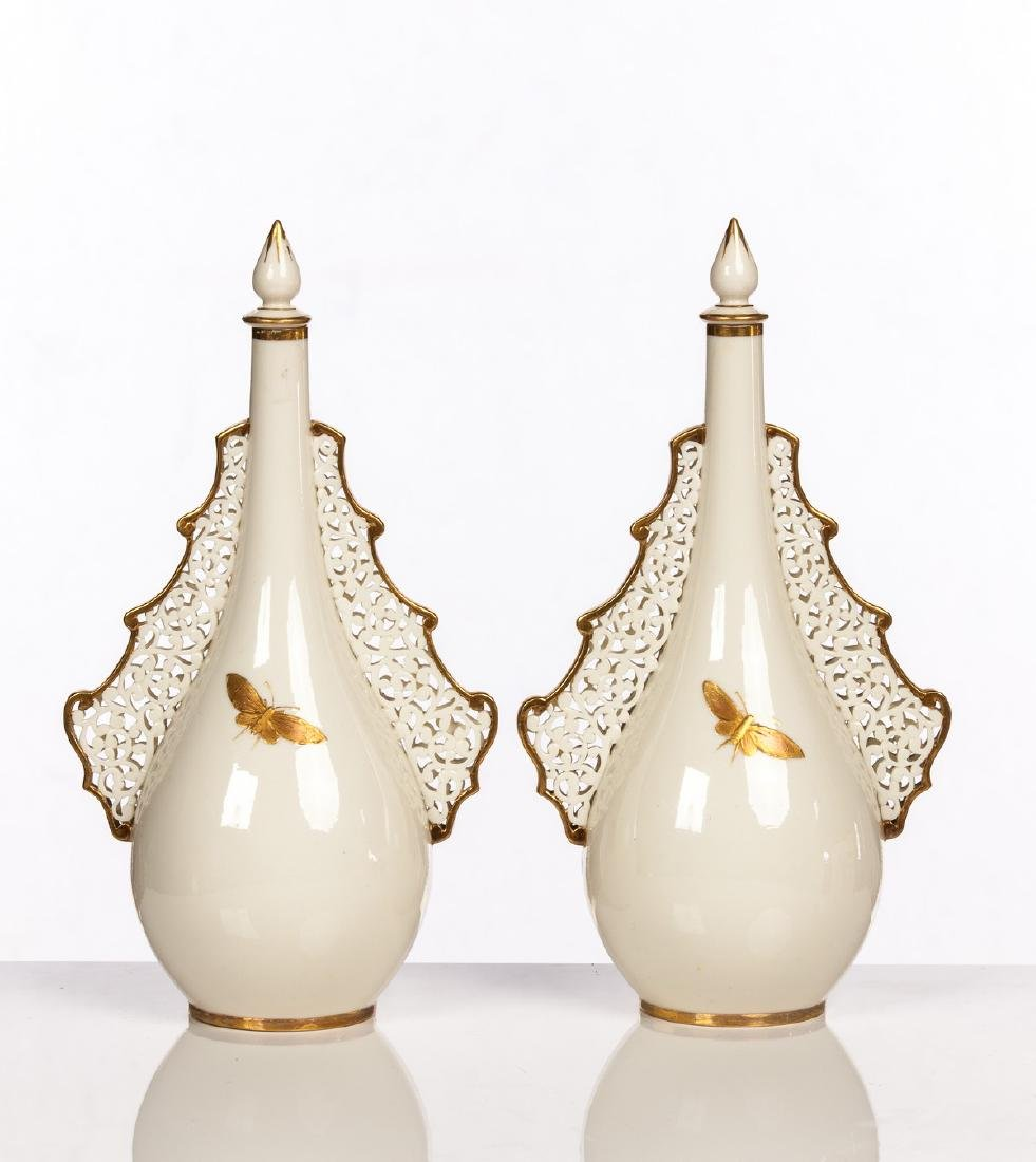 PAIR OF ROYAL WORCESTER COVERED PERFUMES BOTTLES - 3