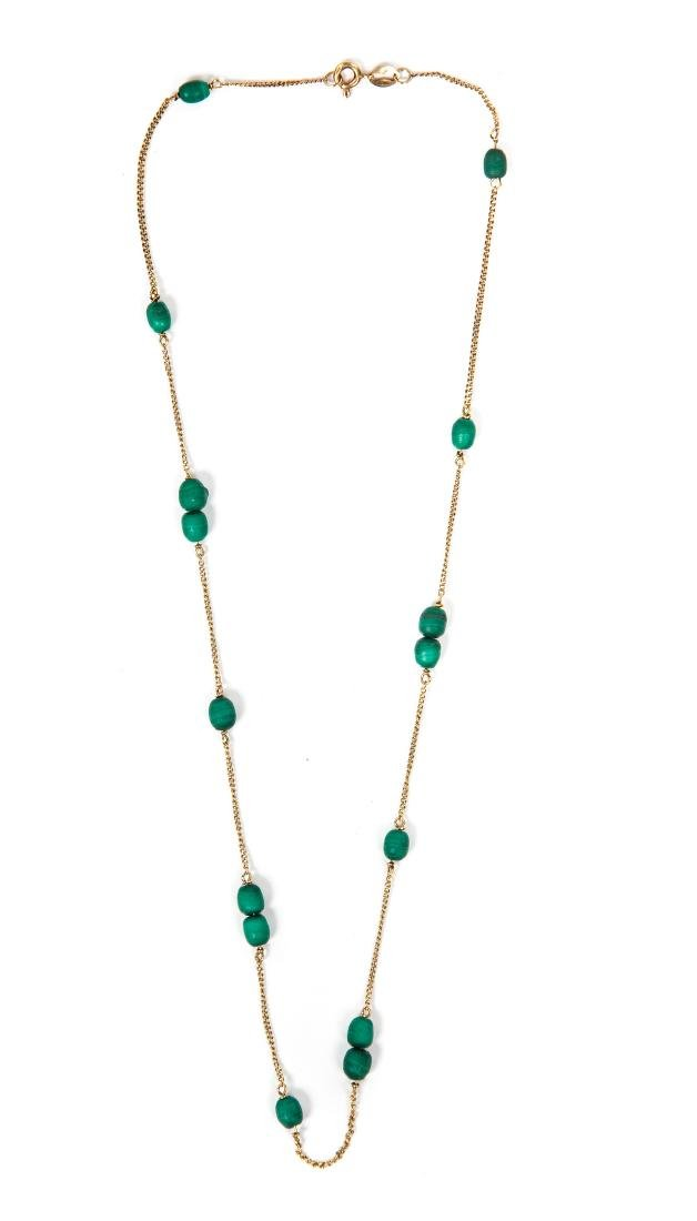 18 KT YG AND MALACHITE NECKLACE
