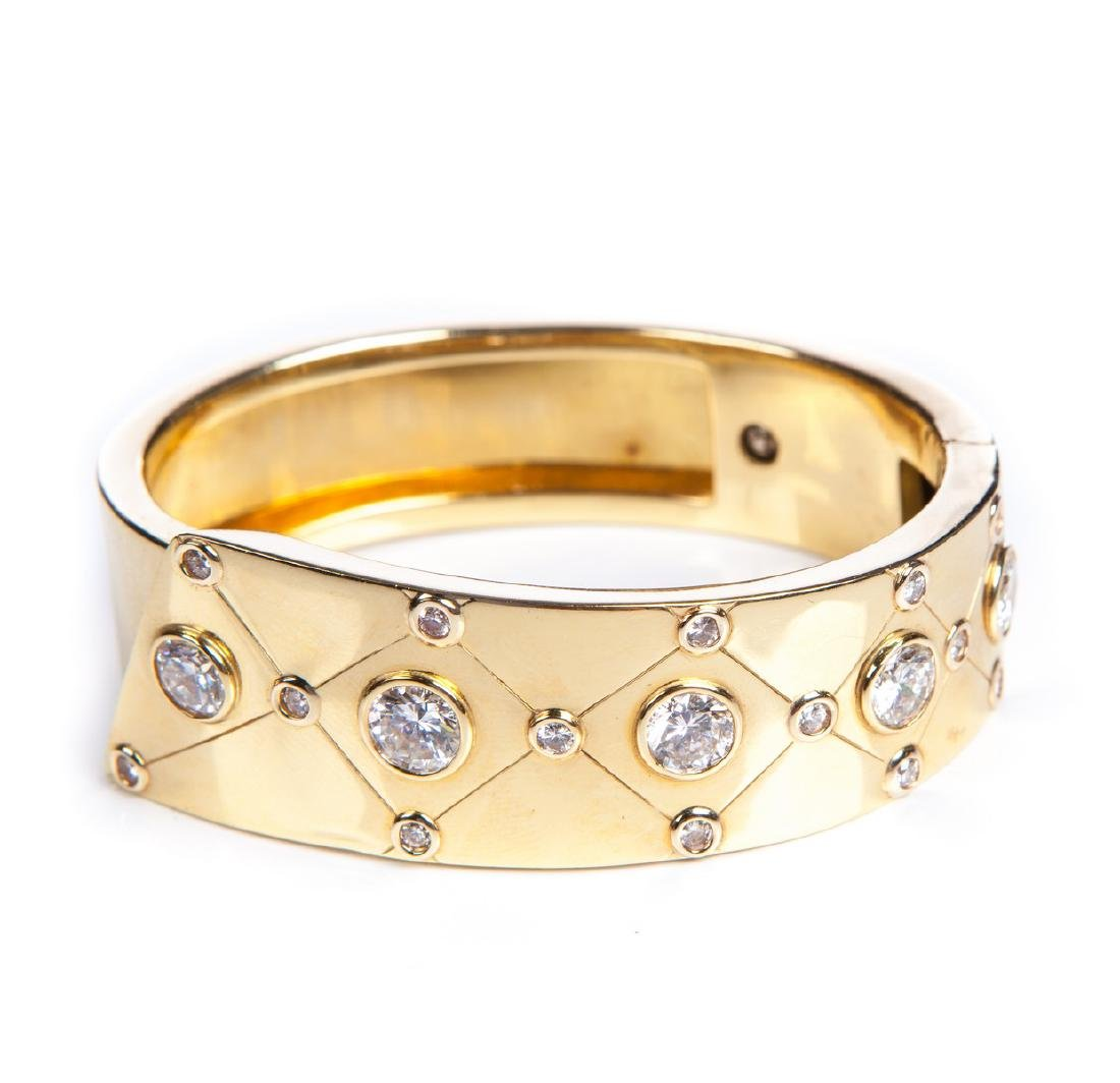 YG 14 KT DECO BANGLE BRACELET W DIAMONDS