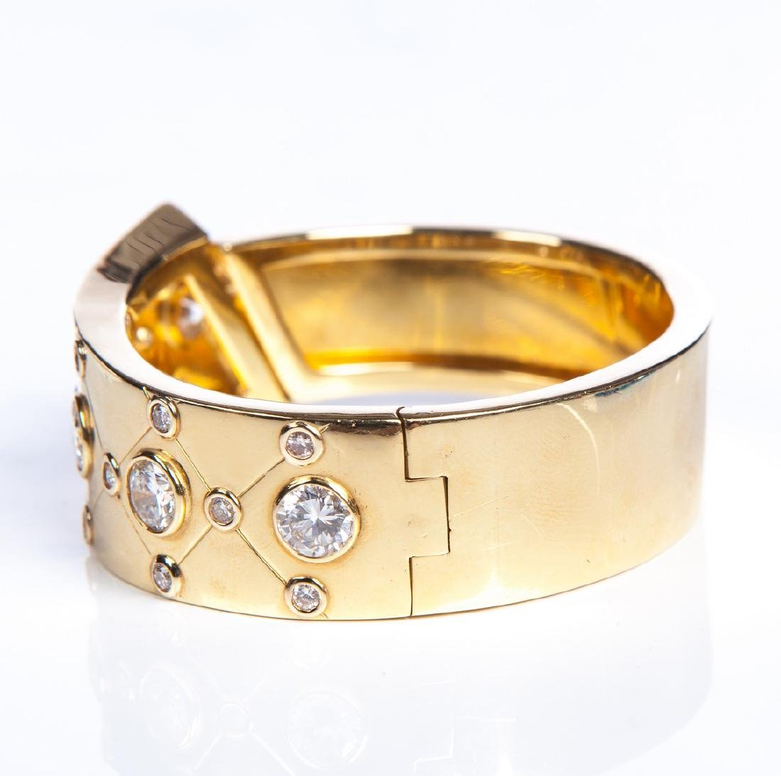 YG 14 KT DECO BANGLE BRACELET W DIAMONDS - 3