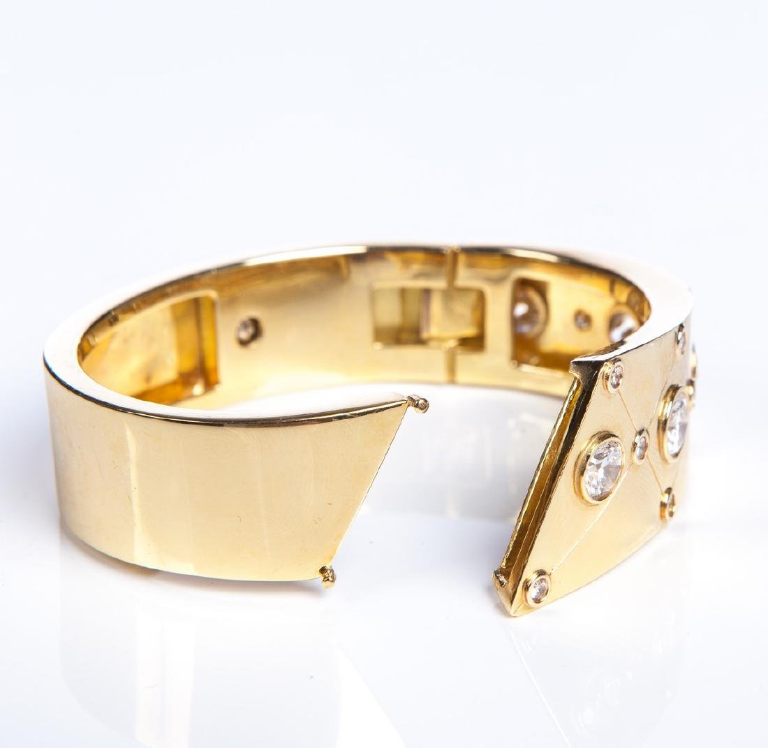 YG 14 KT DECO BANGLE BRACELET W DIAMONDS - 6