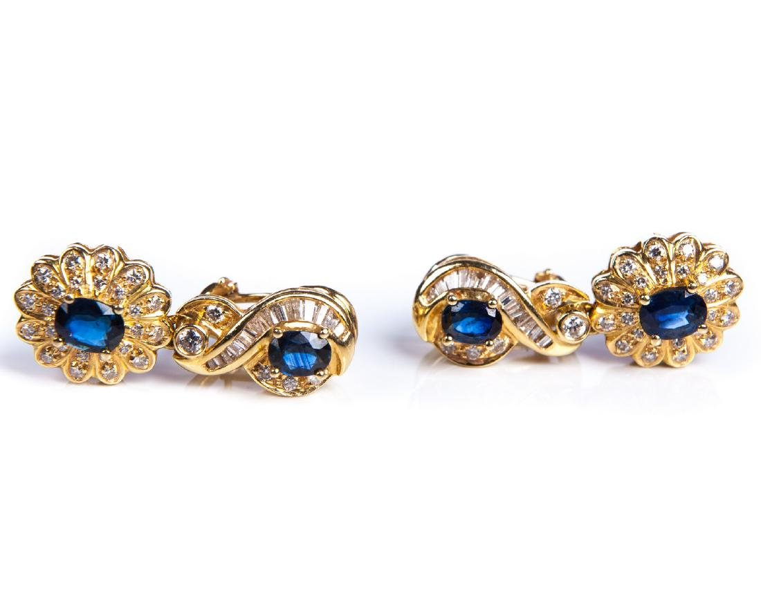 18 KT YG DIAMOND AND SAPPHIRE EARRINGS