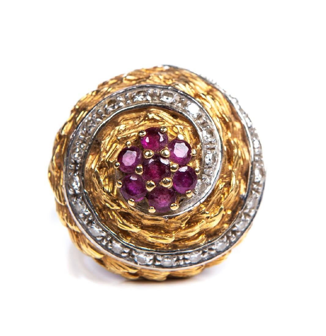 DIAMOND AND RUBY 18 KT YELLOW GOLD RING - 2