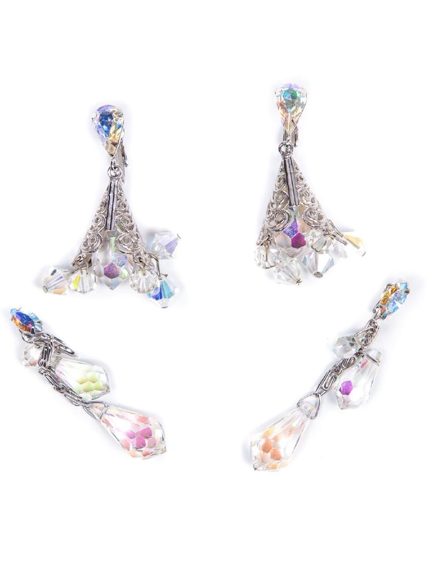 TWO PAIRS OF AURORA BOREALIS CRYSTAL EARRINGS