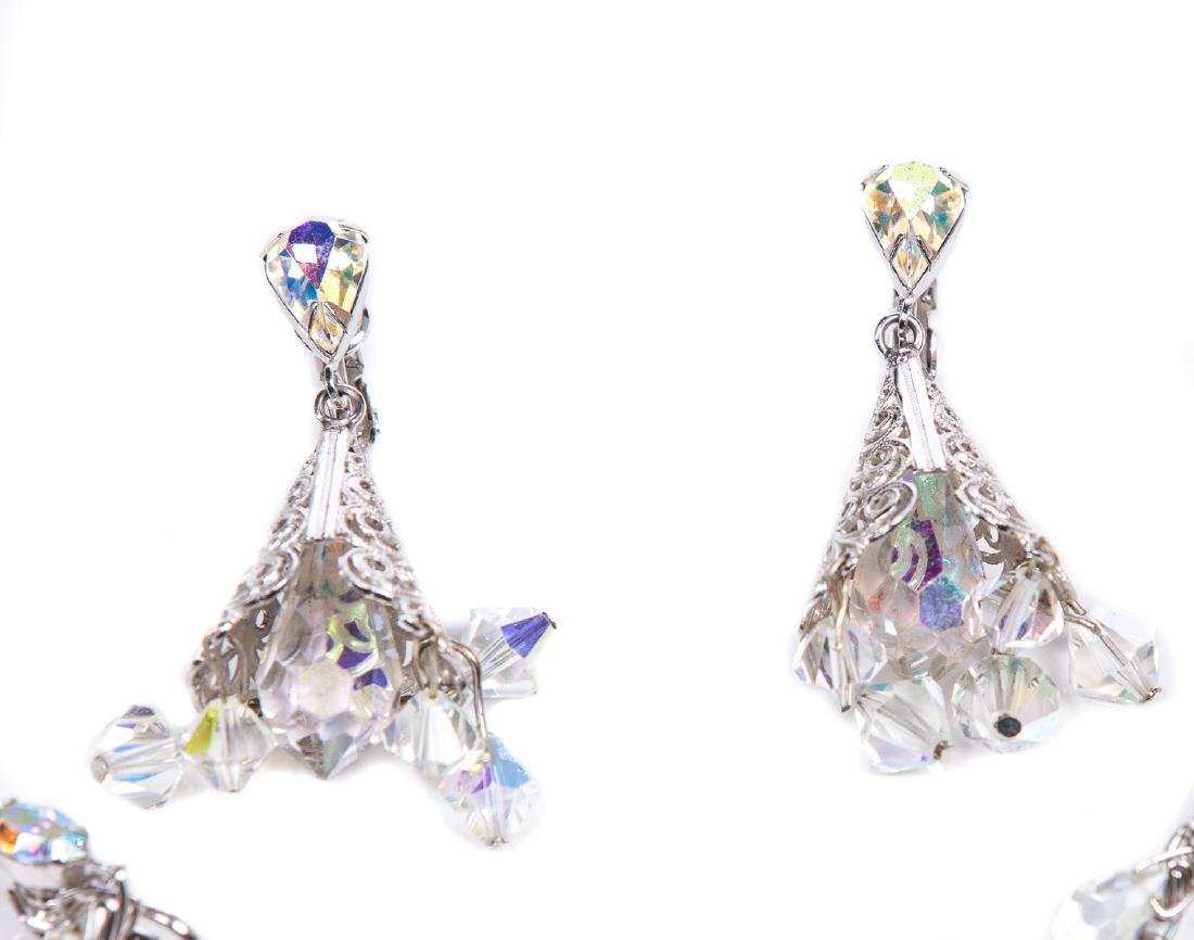 TWO PAIRS OF AURORA BOREALIS CRYSTAL EARRINGS - 3