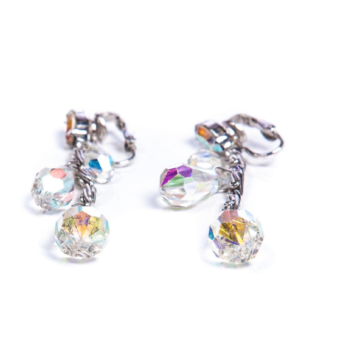 TWO PAIRS OF AURORA BOREALIS CRYSTAL EARRINGS - 6