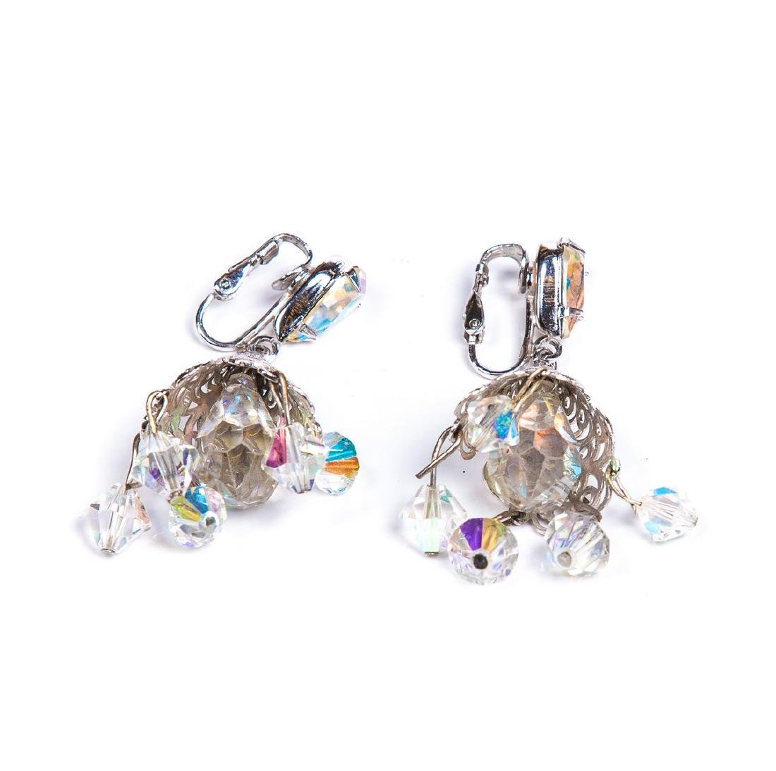 TWO PAIRS OF AURORA BOREALIS CRYSTAL EARRINGS - 8