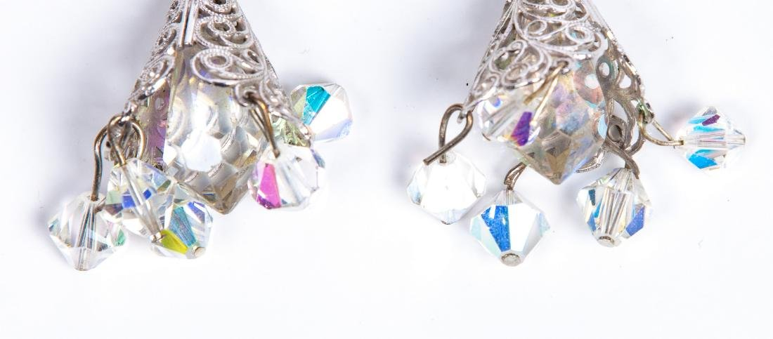 TWO PAIRS OF AURORA BOREALIS CRYSTAL EARRINGS - 9