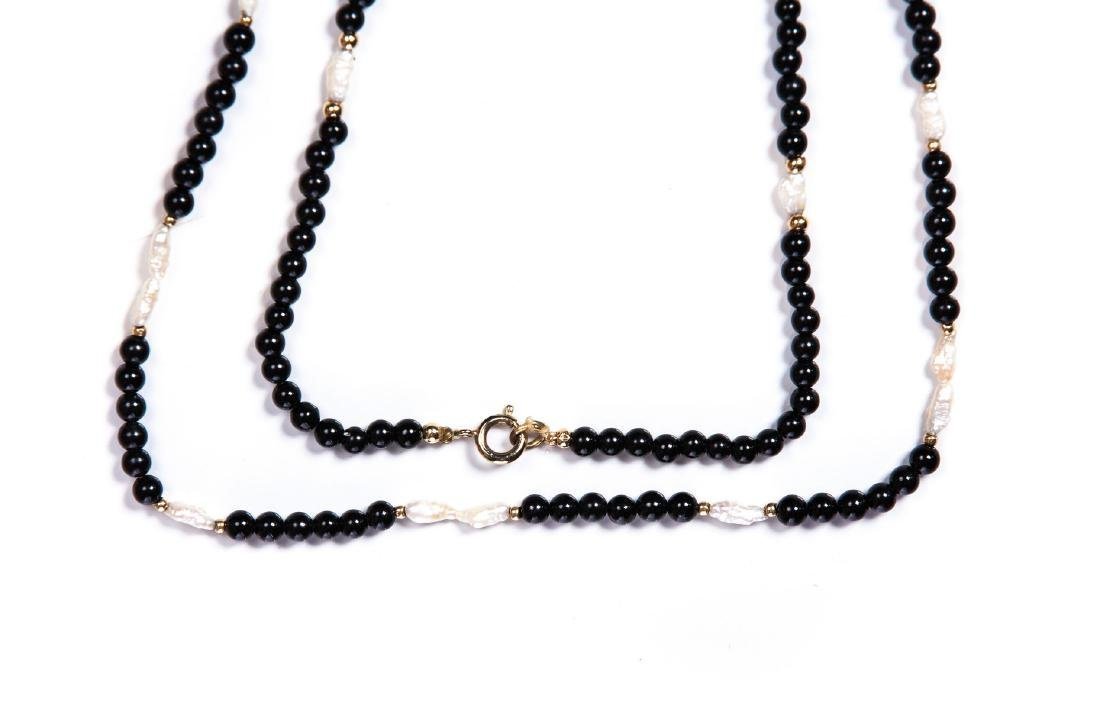 SET OF 3 BLACK ONYX MOP AND YELLOW GOLD NECKLACES - 2