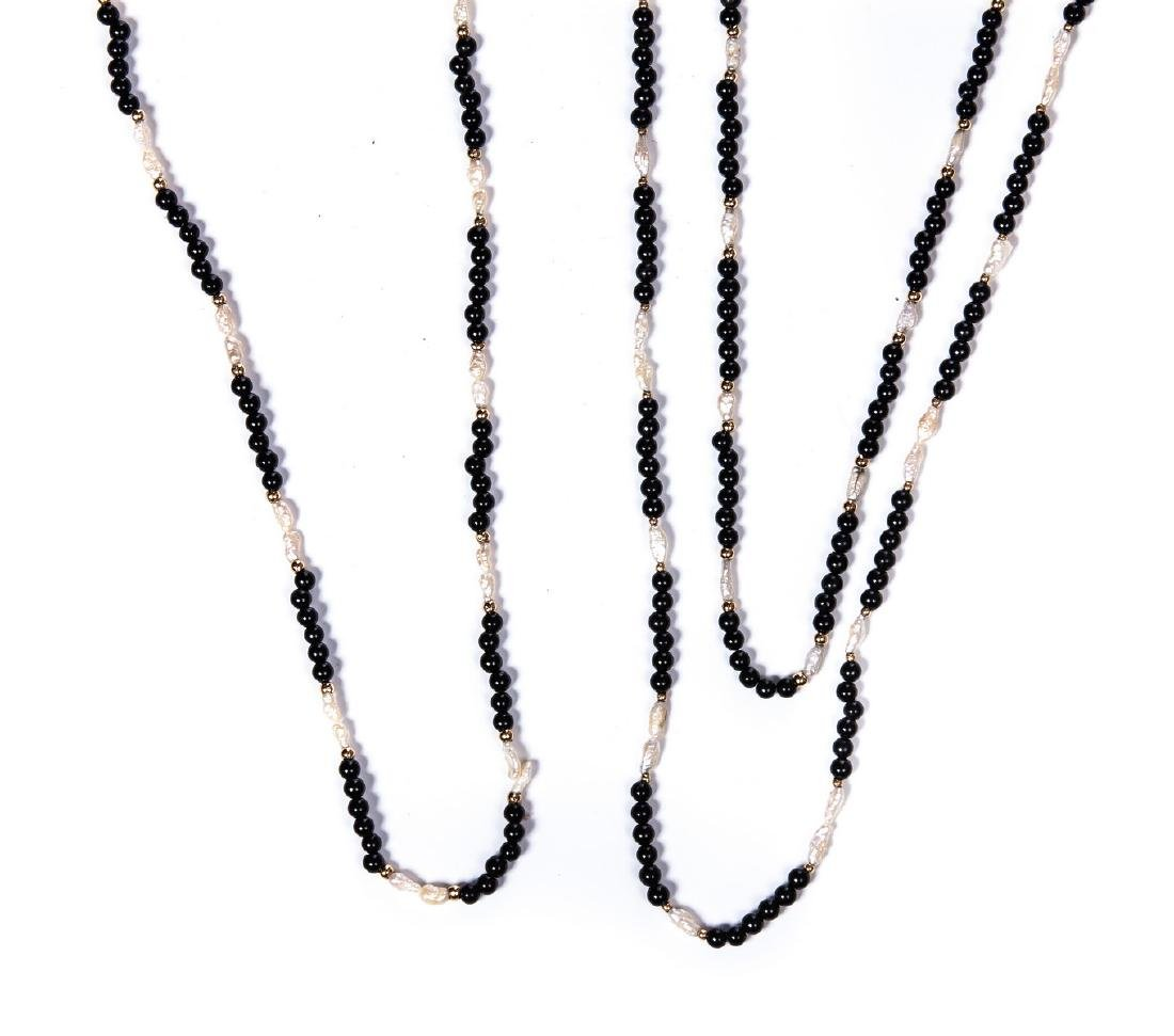 SET OF 3 BLACK ONYX MOP AND YELLOW GOLD NECKLACES - 3