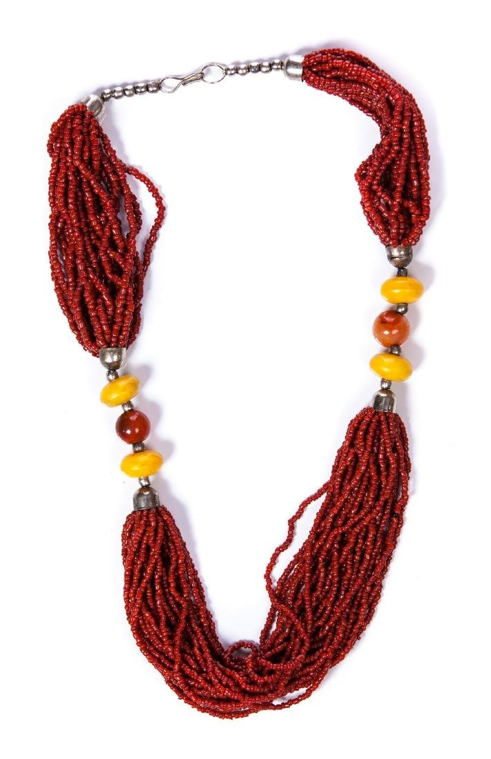 CORAL, AMBER, AGATE AND SILVER BEADED NECKLACE