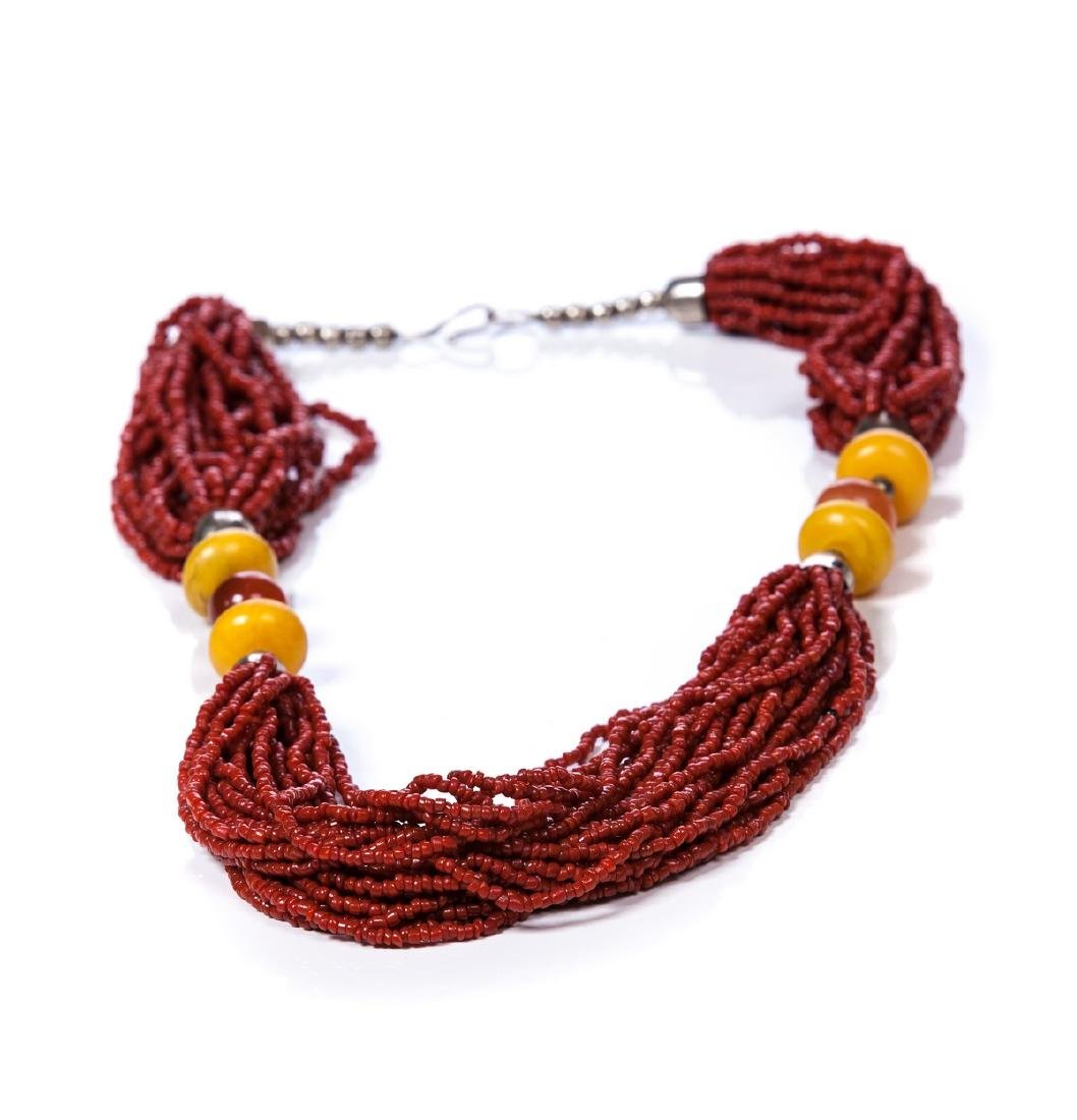 CORAL, AMBER, AGATE AND SILVER BEADED NECKLACE - 4