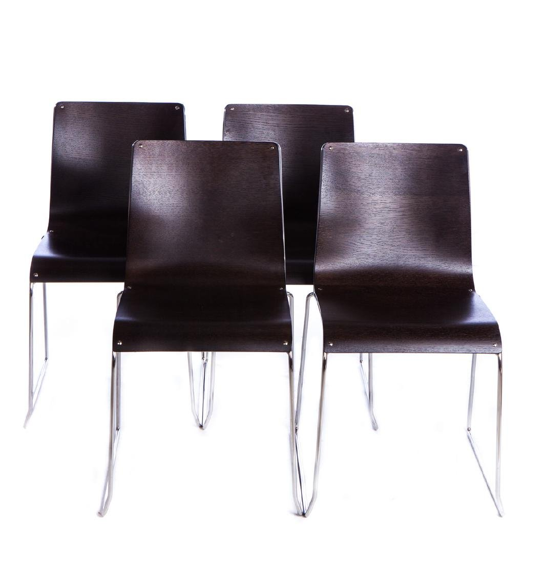 SET OF 4 ITALIAN WOOD AND STAINLESS CHAIRS