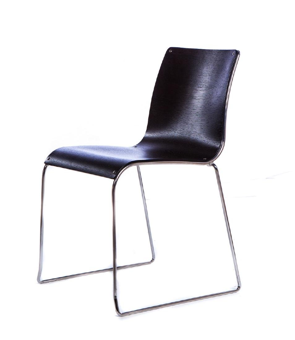 SET OF 4 ITALIAN WOOD AND STAINLESS CHAIRS - 2