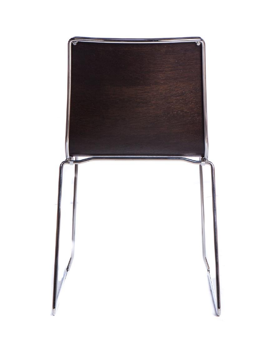 SET OF 4 ITALIAN WOOD AND STAINLESS CHAIRS - 3