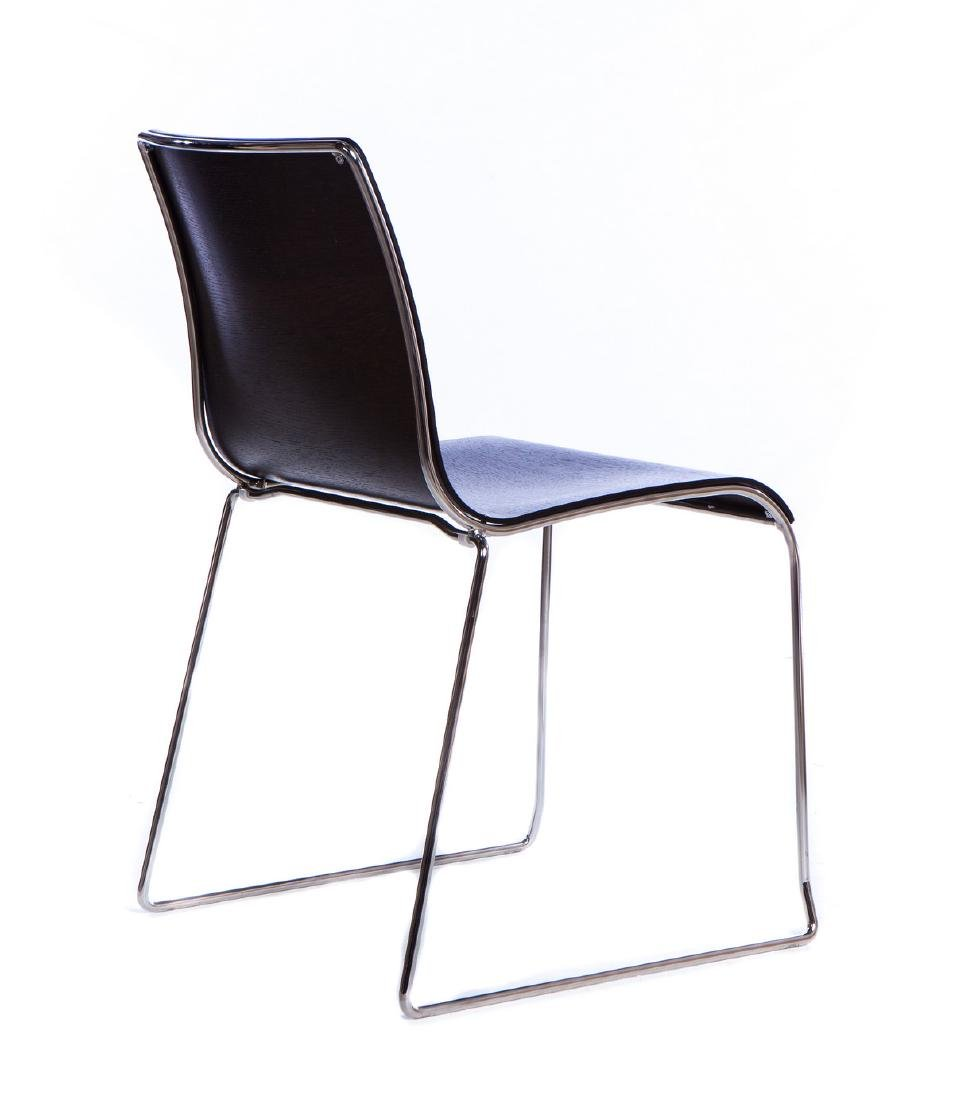 SET OF 4 ITALIAN WOOD AND STAINLESS CHAIRS - 4
