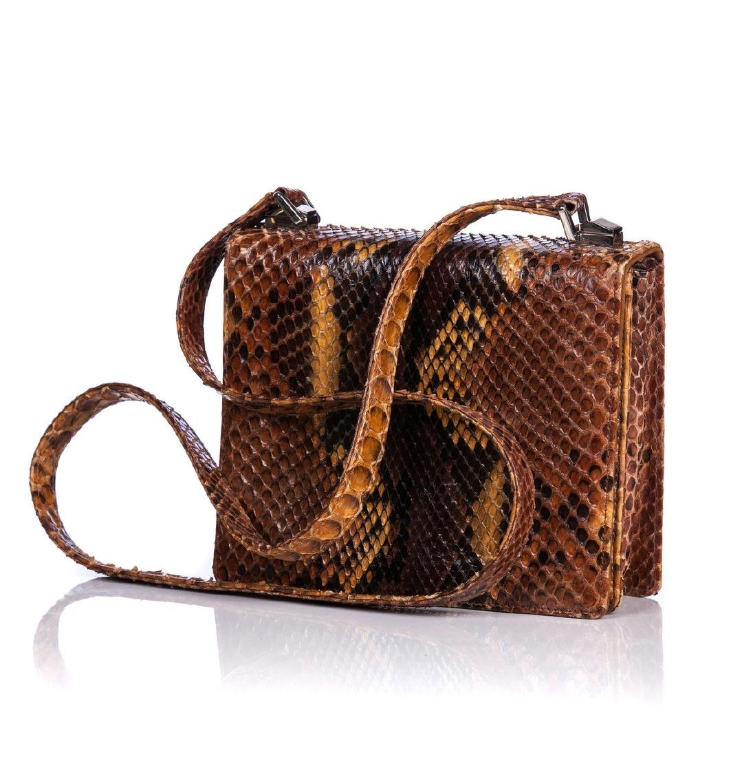 BRUNO MAGLI COUTURE BROWN PYTHON SHOULDER BAG