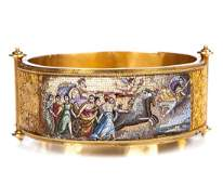 19TH CENT MICROMOSAIC BANGLE WITH ENTRUSCAN GOLD WORK